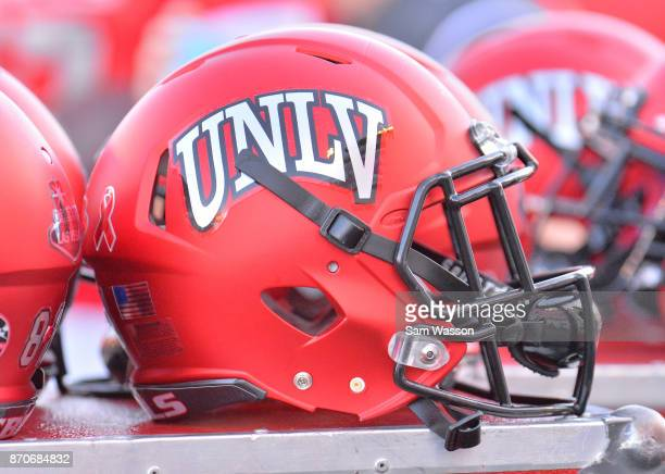 Rebels helmet is shown on the sidelines during the team's game against the Hawaii Warriors at Sam Boyd Stadium on November 4 2017 in Las Vegas Nevada
