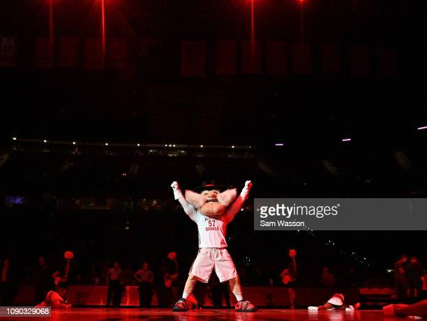 Rebels mascot Hey Reb performs before the team's game against the Wyoming Cowboys at the Thomas Mack Center on January 05 2019 in Las Vegas Nevada