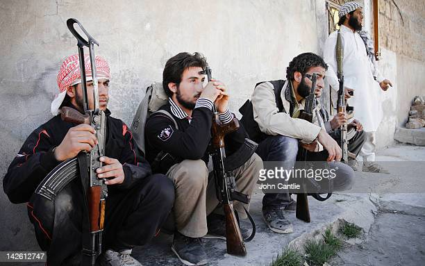 Rebels of the Free Syrian Army prepare to counterattack government tanks that have driven into Saraquib city on April 9 2012 in Syria Conitnuing...