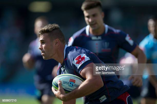 Rebels player Jack Maddocks crosses the try line at round 5 of the Super Rugby between Waratahs and Rebels at Allianz Stadium in Sydney on March 18...