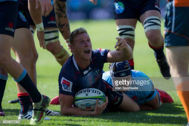 Rebels player Reece Hodge asks for a try during the first half at round 5 of the Super Rugby between Waratahs and Rebels at Allianz Stadium in Sydney...