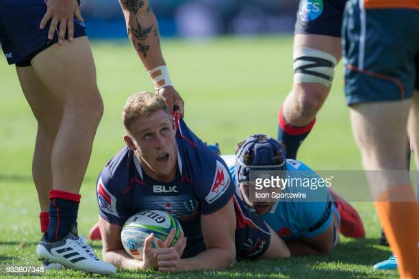 Rebels player Reece Hodge has his try disallowed at round 5 of the Super Rugby between Waratahs and Rebels at Allianz Stadium in Sydney on March 18...
