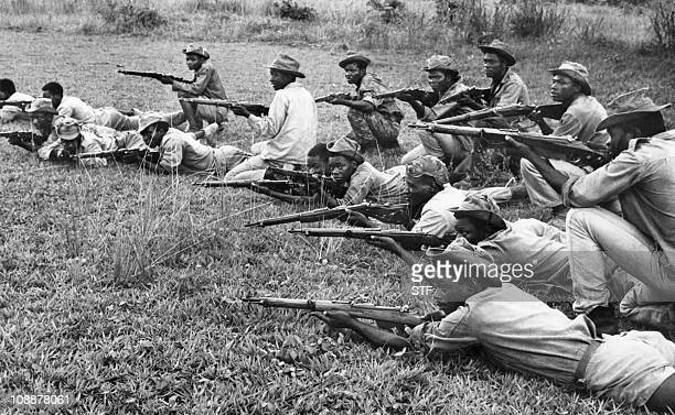 Rebels train in 1966 in an unlocated place of Angola during the Angolan War of Independence