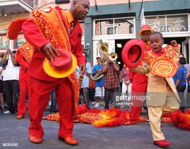 Rebirth Brass Band and Revolution Social and Pleasure Club dance in the streets of the French Quarter, celebrating the 40th anniversary at the New...