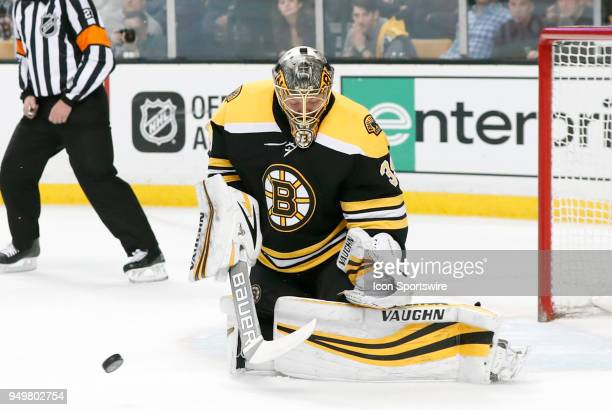 A rebound comes off Boston Bruins goalie Anton Khudobin during Game 5 of the First Round for the 2018 Stanley Cup Playoffs between the Boston Bruins...