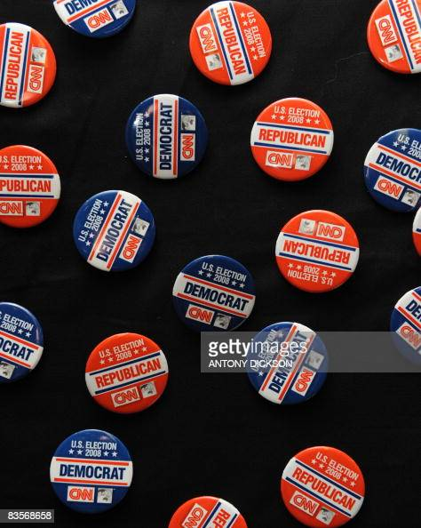 Rebublican and Democrat buttons are on display at a mock US