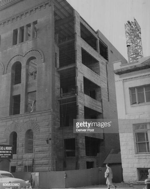 Rebuilding after 1951 fire 'Dr John Galen Locke's offices show on right edge of photo Later the building became the variety Club movie and...