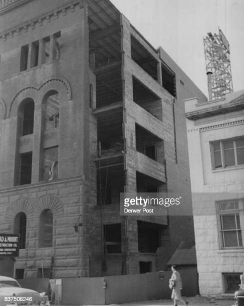Rebuilding after 1951 fire 'Dr John Galen Locke's Offices show on right edge of photo later the building become the variety club movie and...