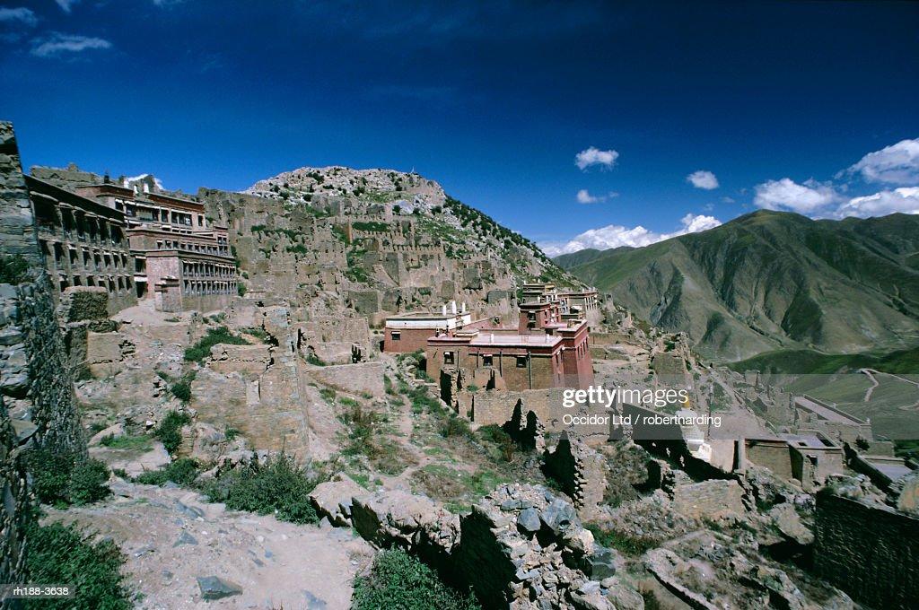 Rebuilding, Ganden monastery, Tibet, China, Asia : Foto de stock
