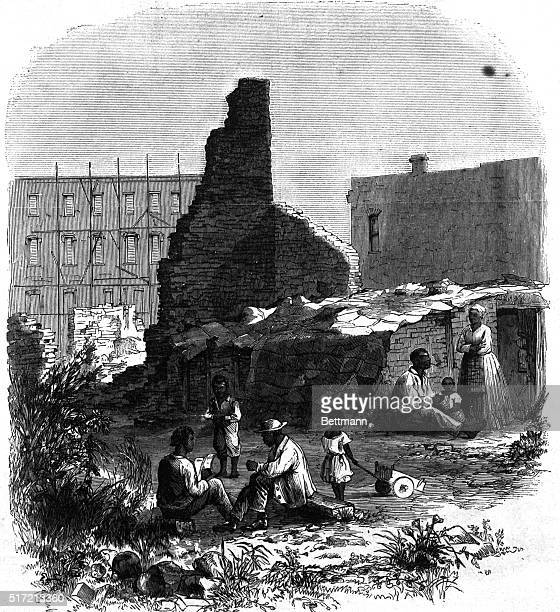 Rebuilding in Columbia SC From Harper's Weekly July 21 1886 Among the ruins of Columbia South Carolina Civil War July 21 1866 Undated illustration