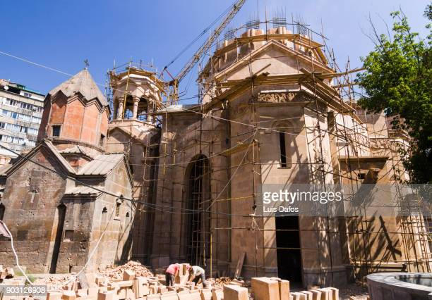 rebuilding of katoghike church - dafos stock photos and pictures