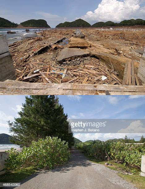 In this composite image a comparison has been made between a scene in 2005 and 2014 LEUPUNG ACEH INDONESIA DECEMBER 13 A rebuilt bridge and new...