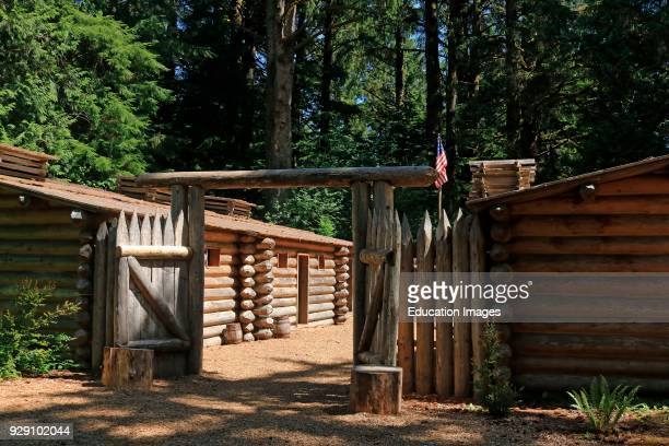 Rebuilt fort of Lewis and Clark in the Fort Clatsop National Historical Park near Astoria Oregon