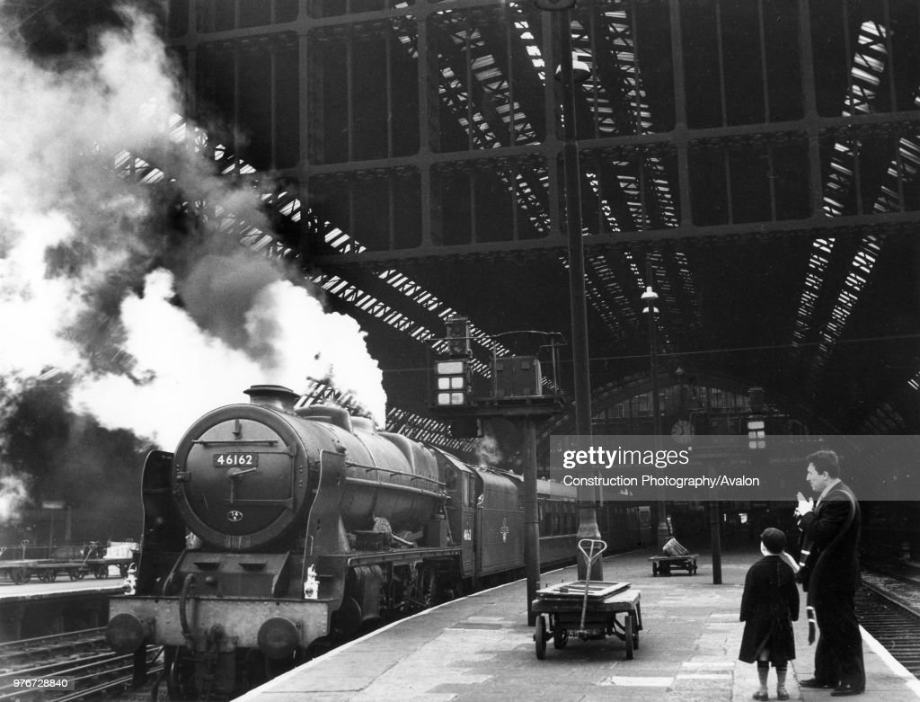 Re-built Royal Scot Class No.46162 Queen Victoria's Rifleman stands at St Pancras Station in London with the Sunday 11.45 express to Bradford. 12th March 1961. : News Photo