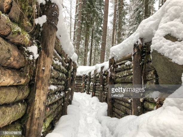 rebuilt wooden trenches from world war ii - air raid shelter stock pictures, royalty-free photos & images