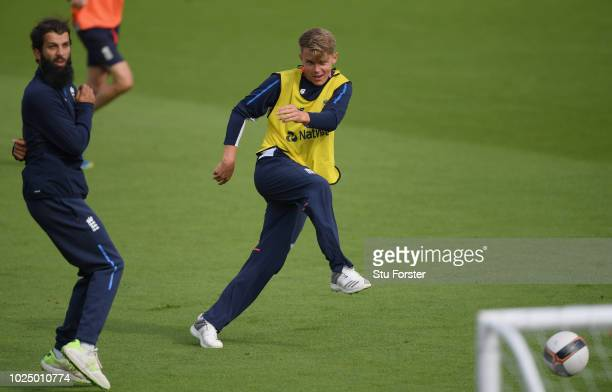 Recalled England players Moeen Ali and Sam Curran in football action during England nets ahead of the 4th Test Match against India at The Ageas Bowl...