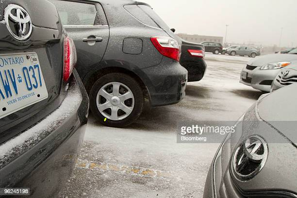 Recalled Toyota Motor Corp vehicles sit in an Avis car rental storage lot at Toronto's Pearson International Airport in Mississauga Ontario Canada on...