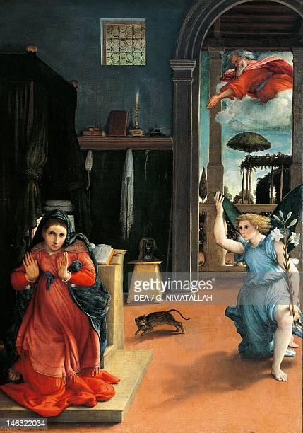 Recanati Pinacoteca Comunale The Recanati Annunciation ca 1532 by Lorenzo Lotto oil on canvas 166x114 cm Detail