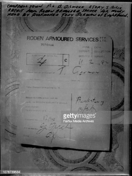 Recbit ***** armored service for money held by bookmaker Tony Gorman of Ingleburn February 11 1982