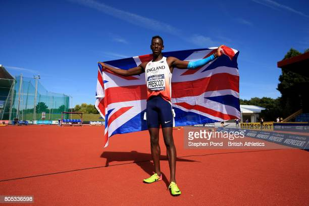 Recce Prescod of Great Britain celebrates victory in the Men's 100m Final during day one of the British Athletics World Championships Team Trials at...