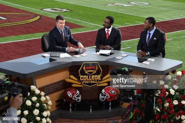 Rece Davis Desmond Howard and Jonathan Vilma on the set of ESPN College Football before the College Football Playoff Semifinal at the Rose Bowl Game...