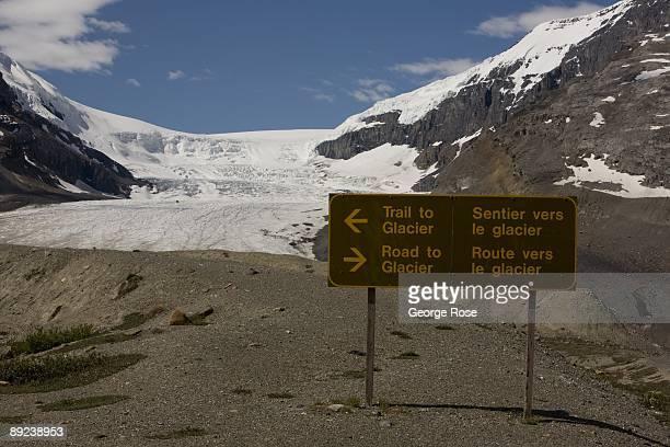 A receding Columbia Glacier is seen in this 2009 Jasper National Park Alberta Canada summer morning landscape photo