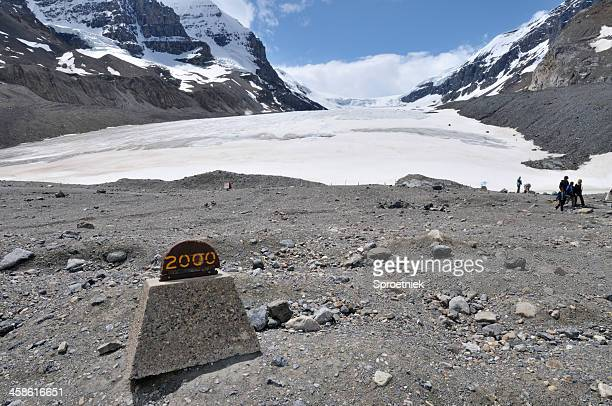 Receding glacier in Canadian Rockies