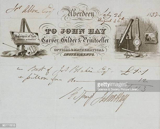 Receipt for the sale of a bust and pillar made by John Hay carver gilder and printseller and retailer of optical and mathematical instruments made...