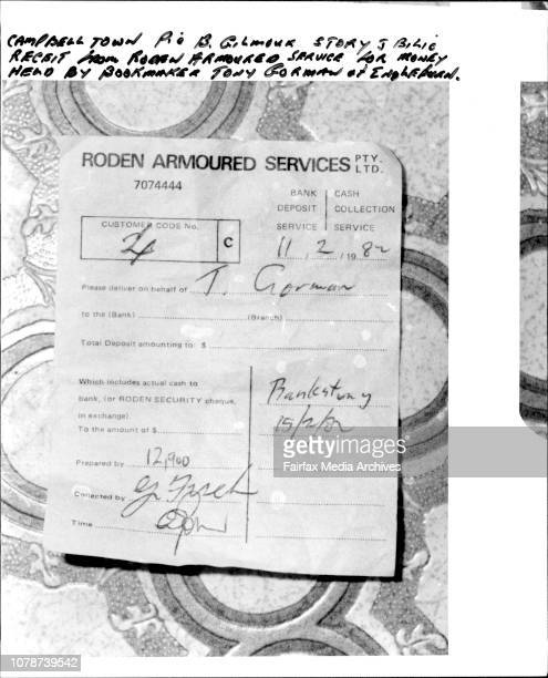 Receipt from Roden Armoured Service for money held by bookmark Tony Gorman of Ingleburn February 11 1982