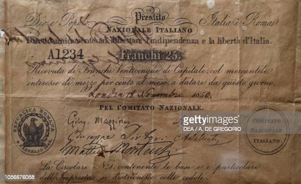 Receipt of 'Prestito nazionale italiano diretto ad affrettare l'indipendenza e la liberta d'Italia' with signatures of Saffi Mazzini Saliceti...