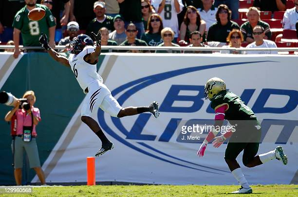 Receiver Anthony McClung of the Cincinnati Bearcats cannot come up with this pass against the South Florida Bulls during the game at Raymond James...