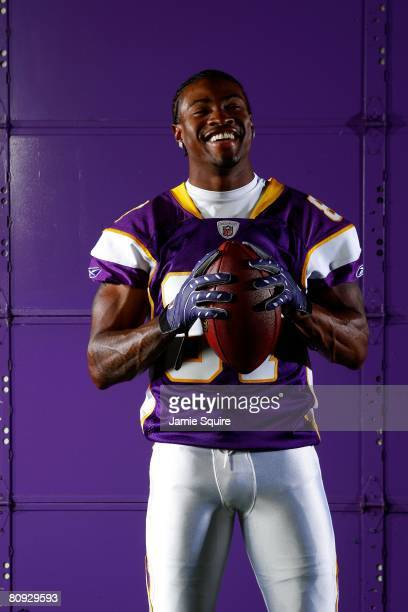 Receiver Bernard Berrian of the Minnesota Vikings poses during a portrait shoot on April 29 2008 at the Vikings' Winter Park practice facility in...