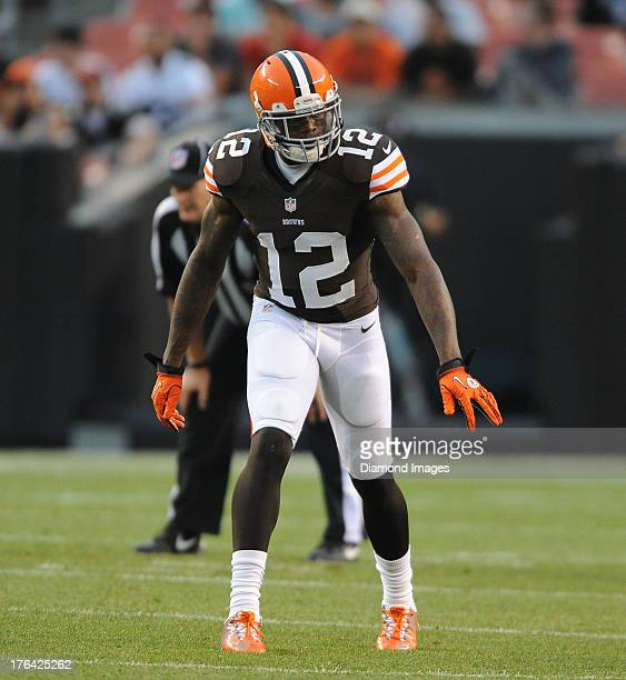 Receiver Josh Gordon of the Cleveland Browns gets lined up during a game against the St Louis Rams at FirstEnergy Stadium in Cleveland Ohio The...