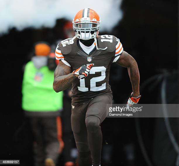 Receiver Josh Gordon of the Cleveland Browns is introduced before a game against the Pittsburgh Steelers at FirstEnergy Stadium in Cleveland Ohio The...
