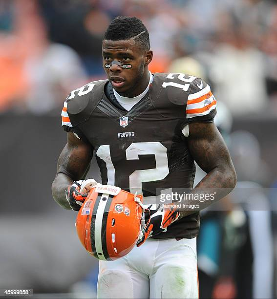 Receiver Josh Gordon of the Cleveland Browns jogs to the sideline after a helmet to helmet hit during a game against the Jacksonville Jaguars at...