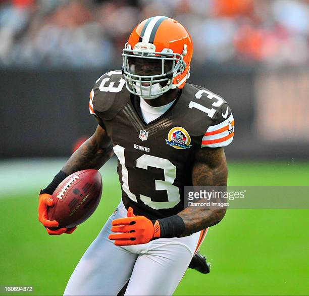 Receiver Josh Gordon of the Cleveland Browns runs with the football after making a catch during a game with the Kansas City Chiefs at Cleveland...