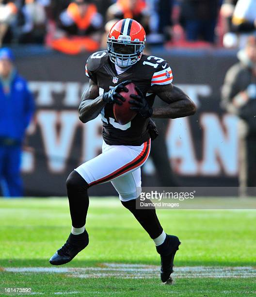 Receiver Josh Gordon of the Cleveland Browns runs with the football after a catch during a game against the Pittsburgh Steelers at Cleveland Browns...