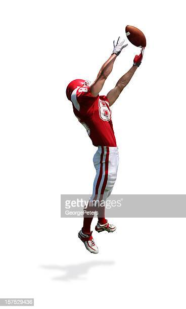 receiver making catch with clipping path - wide receiver athlete stock pictures, royalty-free photos & images