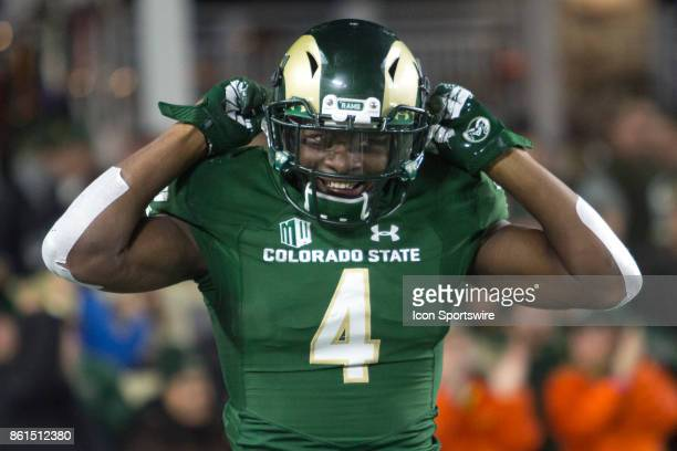 CSU receiver Michael Gallup smiles after scoring a touchdown during the UNR at CSU football game at Sonny Lubick Field at Hughes Stadium in Fort...