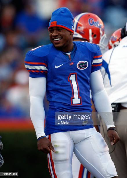 Receiver Percy Harvin of the Florida Gators watches his team from the sideline against the Citadel Bulldogs during the game at Ben Hill Griffin...