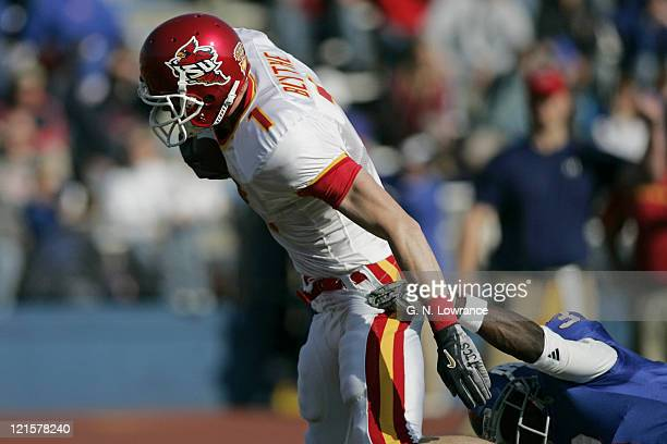 Receiver Todd Blythe of the Iowa State Cyclones scores a touchdown against the Kansas Jayhawks during 1st half action at Memorial Stadium in...