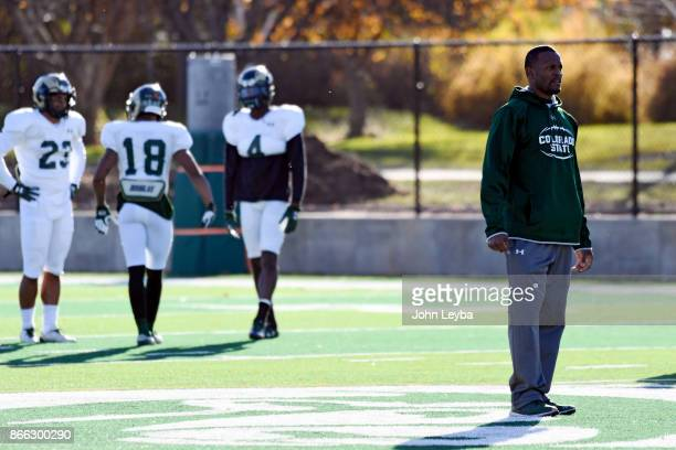 CSU receivers coach Alvis Whitted looks on during practice on October 24 2017 in Ft Collins Whitted has now developed two NFL prospects with the CSU...