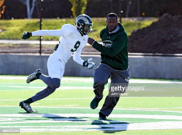 CSU receivers coach Alvis Whitted works with wide receiver Warren Jackson during practice on October 24 2017 in Ft Collins Whitted has now developed...