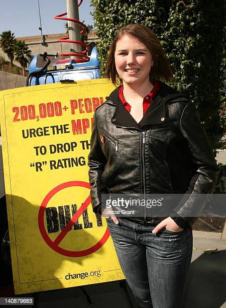 MPAA receives 200000 signatures from bullied student Katy Butler urging reversal of 'R' rating for 'Bully' film at the offices of the Motion Picture...
