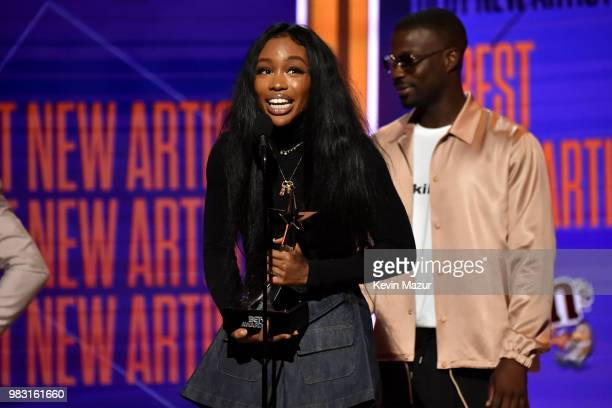 SZA receives the award for Best New Artist onstage at the 2018 BET Awards at Microsoft Theater on June 24 2018 in Los Angeles California