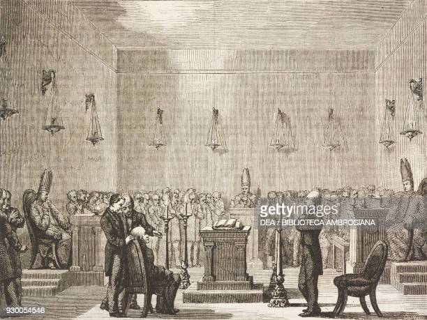 Receiving of a Mormon Nephite, United States of America, drawing by David from a sketch by Bennet, from The City of the Saints, among the Mormons and...