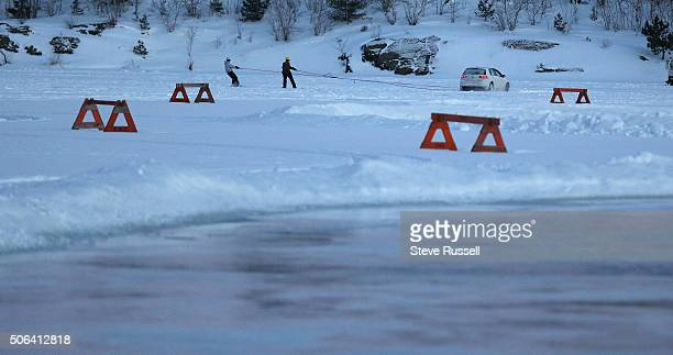 A recent cold snap coupled with a heavy snow fall brought out a pair of snowboarders towed by a car to test the ice Parts of the lake are being...