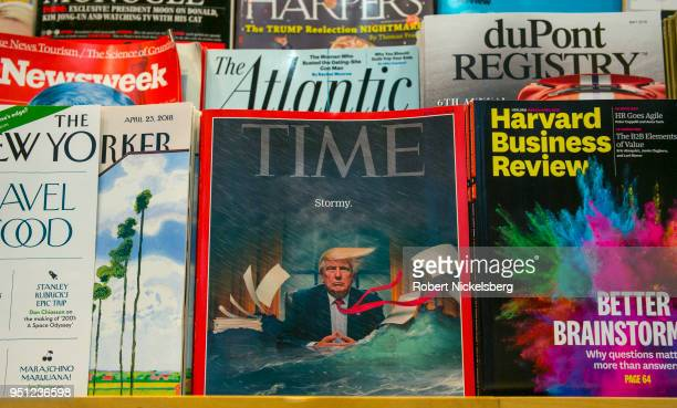A recent copy of TIME magazine sits in a rack at a Hudson News bookstore April 21 2018 at John F Kennedy International Airport in the Queens borough...
