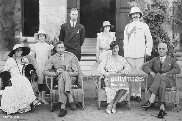 A recent photograph of the duke and duchess of Kent was taken at the Government House during their visit In the group are left to right Lady Hollis...