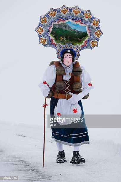 Recent picture of a 'Rolli' pictured early in the morning during the 'Silvesterchalusen' in Urnaesch in the Swiss canton Appenzell Ausserroden on...
